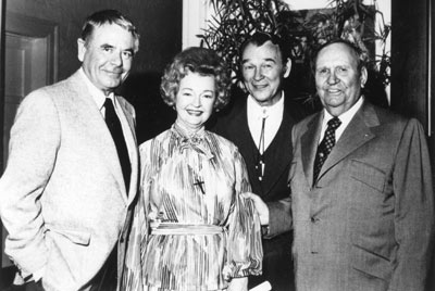 Glenn Ford, Dale Evans, Roy Rogers, Gene Autry at the Cowboy Hall of Fame ceremonies in Oklahoma City in 1977.