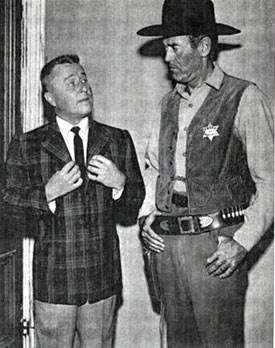 "Henry Fonda in his character of Marshal Simon Fry on ""The Deputy"" guest starred on George Gobel's variety show in 1959."