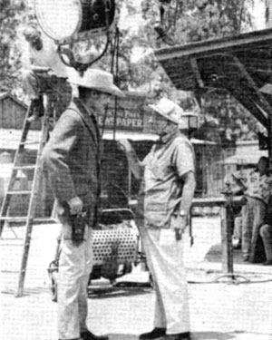 "John ""Lawman"" Russell on the Warner Bros. lot with director Stuart Heisler."