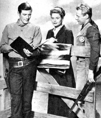 "The cast of ""Black Saddle"", Peter Breck (Clay Culhane), Ana-Lisa (Nora Travers) and Russell Johnson (Marshal Gib Scott) take a look at their latest script."
