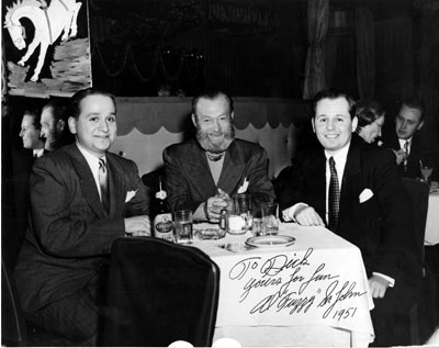"A very debonair looking Al ""Fuzzy"" St. John dines in 1951 with producer-brothers Richard and Alex Gordon. (Thanx to Tom Weaver.)"