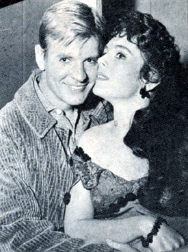 "Will Hutchins with Erin O'Brien, his leading lady in two 1958 episodes of ""Sugarfoot"", ""Short Range"" and ""A Wreath for Charity Lloyd""."