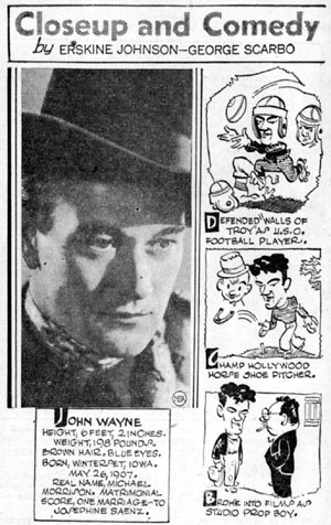 "NEA syndicated feature ""Closeup and Comedy"" from August 7, 1936."