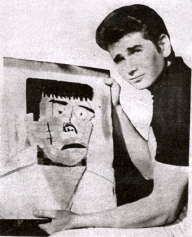 "Michael Landon of ""Bonanza"" is very proud of his ""Crying Frankenstein"" mosaic. (Thanx to Terry Cutts.)"