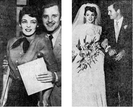 "Suzan Ball, the 21 year old actress whose career was interrupted by the amputation of her right leg, is shown on March 31, 1954, at Santa Monica, CA, obtaining a wedding license with Richard Long (""Big Valley""). The second photo was taken immediately after their wedding on April 11, 1954. Suzan managed to walk down the aisle without the aid of crutches having spent several days before the marriage practicing with her new artificial plastic leg. Among the 200 wedding guests were Jeff Chandler, Julie Adams and Mala Powers."