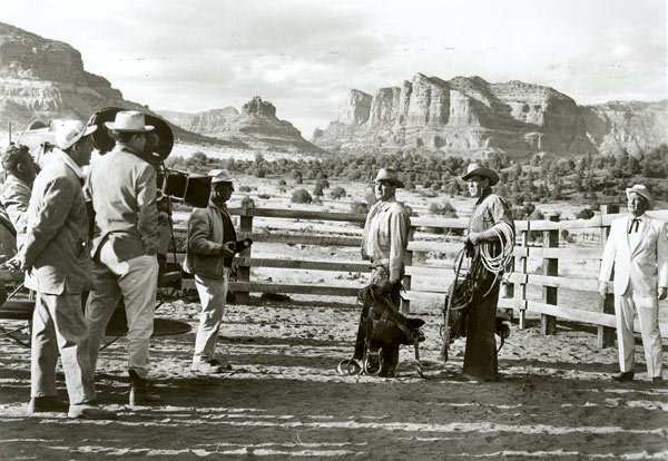 "Setting up a scene for ""The Rounders"" ('65 MGM) in Sedona, AZ, with Glenn Ford, Henry Fonda and Chill Wills."