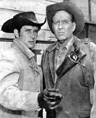 "Dick Foran (right) co-starred with Robert Fuller on the ""Laramie"" episode ""Double Eagles"" in 1962."