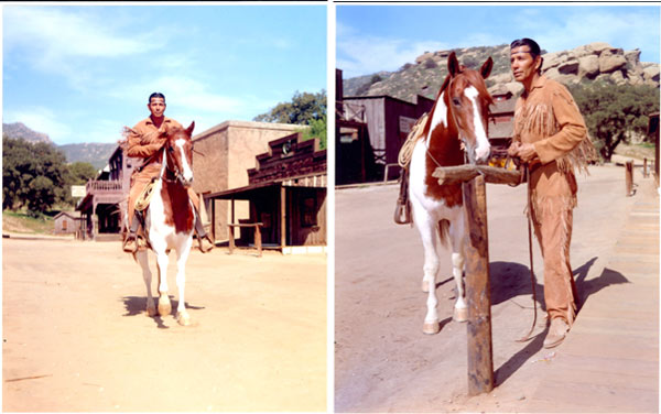 "Jay Silverheels as Tonto rides into Corriganville, stops at the hitch rail and is ready for action in these gorgeous early publicity shots for ""The Lone Ranger"". (Thanx to Neil Summers.)"