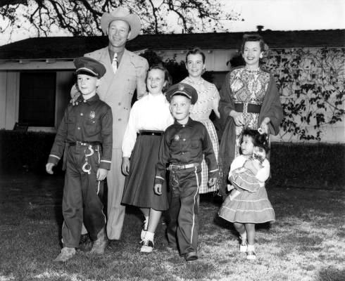 "Roy and his family in 1955. (L-R) Roy ""Dusty"" Rogers Jr., Roy, Mimi, Sandy, Linda, Dale and Dodie."
