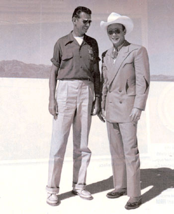 Roy with Wally Parks, president of the National Hot Rod Association at Salt Flats in Nevada. Parks (1913-2007) was instrumental in establishing drag racing a s a legit amateur and pro motorsport.