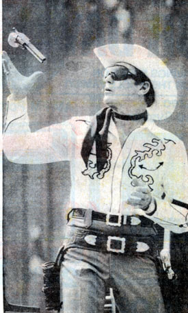 "Clayton Moore, 64, makes an appearance as the Lone Ranger in Louisville, KY, during his ""dark glasses"" period in September 1979."