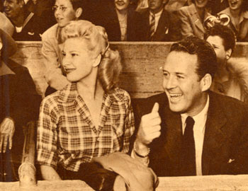 Actress Chili Williams and Dick Foran at the Roy Rogers Rodeo in July 1945 in Hollywood.