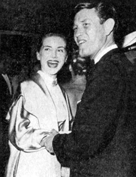 "Earl Holliman, star of TV's ""Hotel de Paree"" and ""Wide Country"", on a date with Delores Hart in 1957."