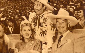 Grace Bradley Boyd, Leo Carrillo and William Boyd at a July 1945 Roy Rogers Rodeo in Hollywood.