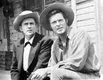 """Maverick"" meets ""Bronco"". Jack Kelly and Ty Hardin on the Warner Bros. backlot."