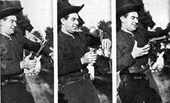 There was nobody better at gun handling than Monogram's Johnny Mack Brown. Photo from March 1946.