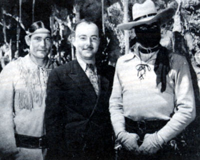 "Chief Thunder Cloud as Tonto, supervising producer Bob Beche and Lee Powell behind the mask for Republic's 1938 serial ""The Lone Ranger""."