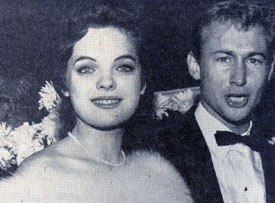 "Out on the town in 1957...""The Rebel"", Nick Adams, and his date Lili Gentle."