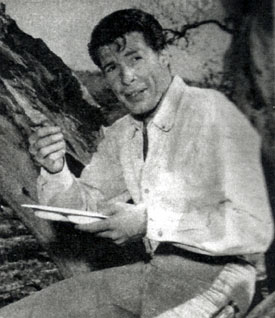 "Robert Horton grabs a bite to eat in between scenes of ""Wagon Train"". (Photo courtesy Terry Cutts.)"