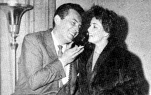 "Jack Kelly, aka Bart Maverick on WB's ""Maverick"", and his wife actress May Wynn talk on the phone with James Garner who was in New York making personal appearances on behalf of Cerebral Palsey in 1958."