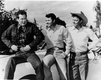 "Rodeo star and sometime actor/stuntman Casey Tibbs with Audie Murphy and Guy Mitchell. Probably during the time of Audie and Guy's ""Whispering Smith"" TV series."
