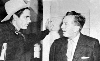 "Tom Tryon talks over his ""Texas Jim Slaughter"" series with ""Uncle"" Walt Disney."