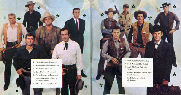 "TV GUIDE photo spread from September 1959 as nine new TV westerns hit the trail. (L-R) Lorne Greene, Michael Landon, Dan Blocker, Pernell Roberts of ""Bonanza""; behind them Ty Hardin in ""Bronco""; Michael Ansara in ""Law of the Plainsman&rduo;...note the show is called ""Tales of the Plainsman"" here; Don Durant in ""Johnny Ringo""; Allen Case in ""The Deputy""; Nick Adams as ""The Rebel""; Jody McCrea in ""Wichita Town""; Robert Rockwell as ""The Man from Blackhawk"" and Earl Holliman in ""Hotel de Paree""."