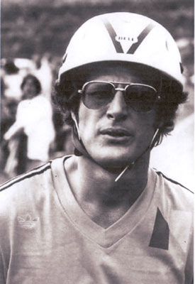 "From ""Alias Smith and Jones"", sports enthusiast Ben Murphy, wearing a Bell motorcycle helmet, is all ready for action in 1977. (Thanx to Terry Cutts.)"