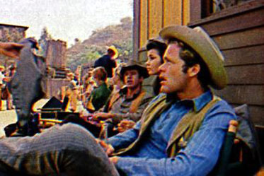 "Clu Gulager, Diane Roter and Doug McClure await a call for a scene on ""The Virginian"". (Thanx to Diane Roter.)"