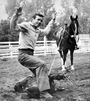 "When not playing ""Wild Bill Hickok"", Guy Madison likes to keep in shape by roping calves."