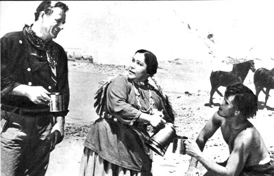 "Flash forward several years later to ""The Searchers"", John Wayne and Jeffrey Hunter enjoy a cup of coffee with an Indian woman played by Buelah Archuletta."