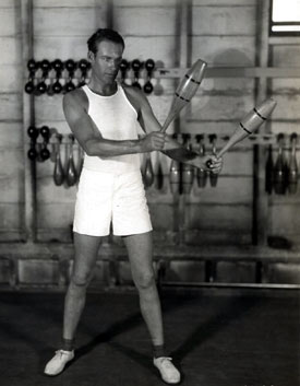 Ever fit, Lane Chandler works out in the gym. Circa early '30s. (Thanx to Bobby Copeland.)