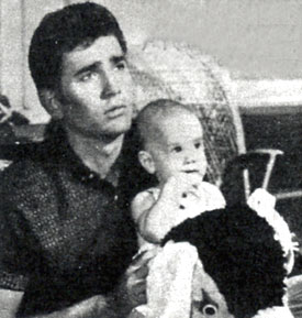 "Michael Landon, Little Joe on ""Bonanza"", with his adopted baby son Josh. (Thanx to Terry Cutts.)"