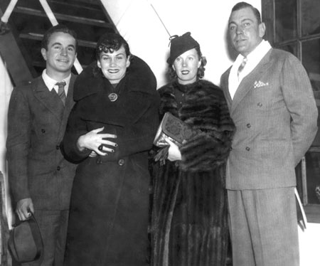 "(L-R) Noah Beery Jr. and wife Maxine, Dell and Buck Jones. Maxine was Buck and Dell's daughter. She and ""Pidge"" were married from 1940 to 1965. (Thanx to Bobby Copeland)."