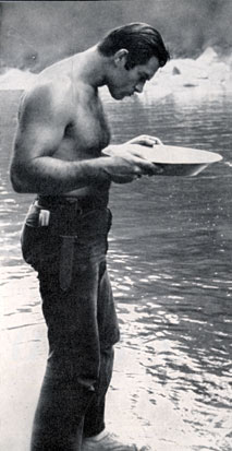 Clint Walker pans for gold in California's Feather River in 1959.
