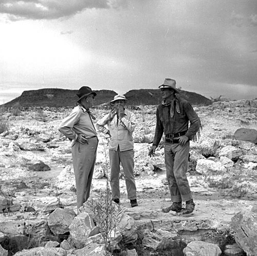 "John Ford, director John Farrow and John Wayne on location in Mexico for ""Hondo"". Ford actually shot some scenes for the film."