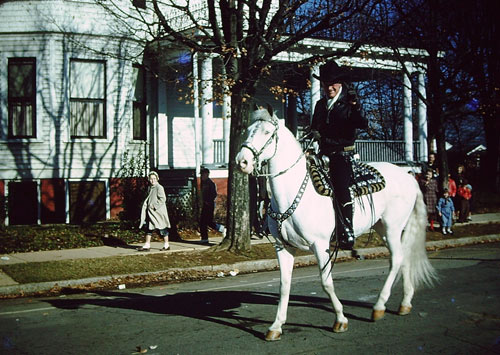 Hopalong Cassidy in the 1957 High Point, NC, Christmas parade. (Photo courtesy Theron Gailey who took the photo in'57 and his nephew Rick Clymer.)