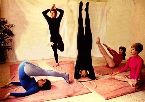 "Yoga anyone? From a '60s TV GUIDE spread (L-R) Diane Roter and Don Quine from ""The Virginian"", actor John Saxon, actress Dodie Marshall and instructor Virginia Denison. (Thanx to Diane Roter.)"