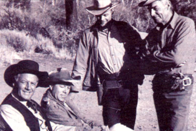 """Ride the High Country"" stars Joel McCrea, producer Richard E. Lyons, Ron Starr and Randolph Scott on location for the '62 classic western."