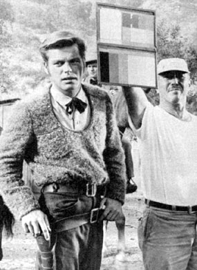 "Robert Wagner prepares for a scene in ""The True Story of Jesse James"" ('57)."