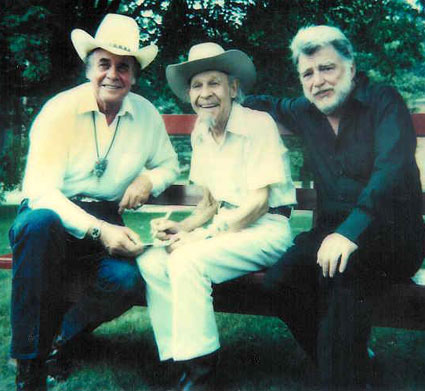 "Sunset Carson, minor player Bill Cody and Lash LaRue which making ""Alien Outlaw"" (1985). (Thanx to Jerry Whittington.)"