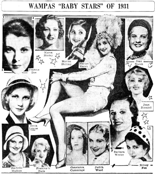 The Wampas Baby Stars of 1931. Most of these ladies later co-starred in westerns. Can you name all the westerns they were in?