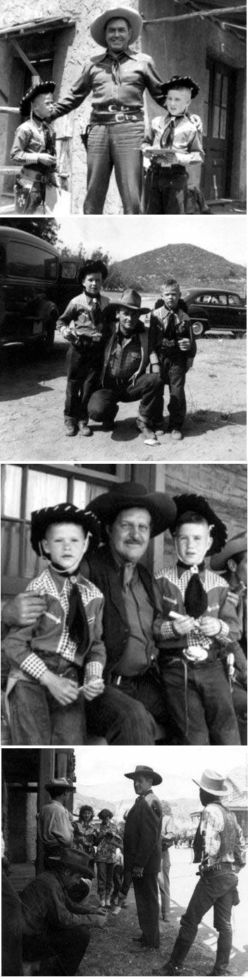 "Two young cowboys visited Iverson's Ranch during the making of a Johnny Mack Brown Monogram B-western...very likely ""Whistling Hills"" ('51). (Top to Bottom) Johnny Mack Brown, Lee Roberts, Frank Ellis, Marshall Reed with Danny Sands seated in foreground and Whitey Hughes on the right, back to camera."