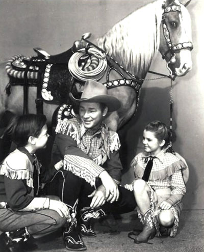 "Roy Rogers and Trigger greet Bobby Driscoll and Luana Patten, their co-stars for Disney's ""Melody Time"" ('48 RKO). (Thanx to Jerry Whittington.)"