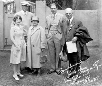 "(L-R) Viola Dana, a major star in the silent era, noted silent western star Maurice ""Lefty"" Flynn, Tom Tyler and, as noted on the photo, Ma and Pop Wolcott. Unknown who they might have been. (Thanx to Bobby Copeland.)"