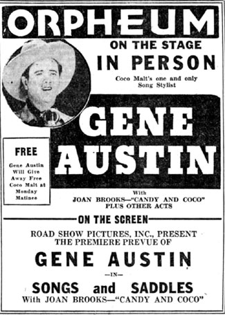 Gene Austin in Memphis, Tennessee, on October 9, 1933.