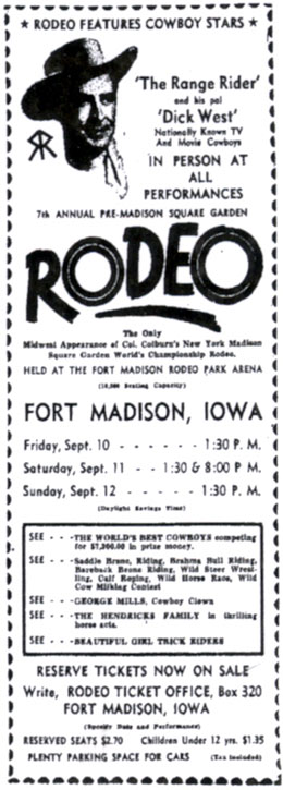 The Range Rider (Jock Mahoney) and Dickie West (Dick Jones) at Fort Madison, Iowa, in September 1954.