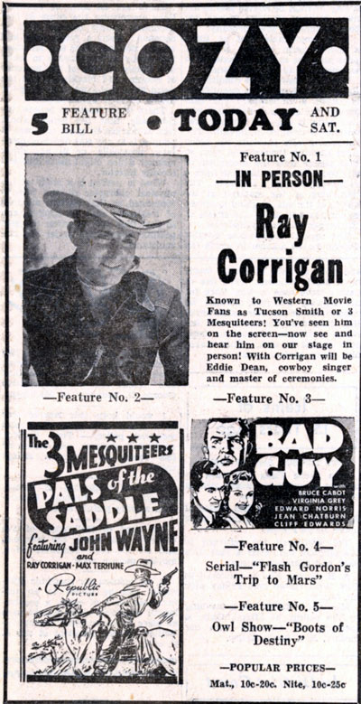 Ray Corrigan at the Cozy Theatre in Pittsburg, Kansas on Sept. 16, 1938.