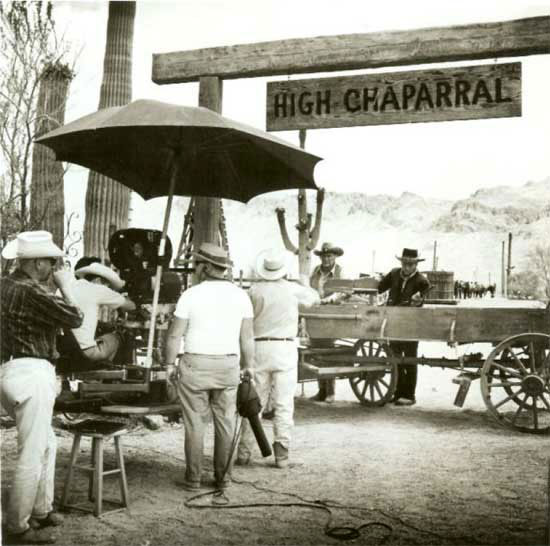 "Leif Erickson and Cameron Mitchell filming an episode of ""High Chaparral"" in  Old Tucson. (Thanx to the ""High Chaparral"" website)."