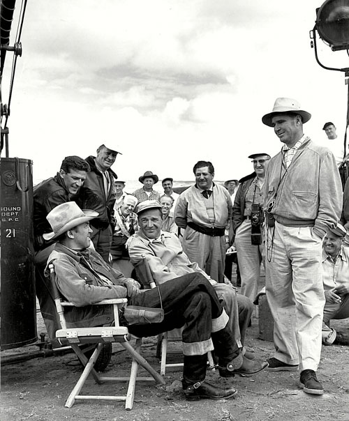 "James Stewart and the crew take a break from filming Columbia's ""Man From Laramie"" ('55). (Thanx to Bobby Copeland.)"